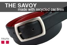 The Savoy / The Savoy belt has black faux snake on the top, recycled car tires in the middle and a red bottom. This is the coolest vegan belt because of this red lining - only you and your loved ones will know it's there! www.truthbelts.com $68.00 / by Truth Belts - Vegan Fashion