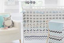 Pokoik dla Mikołaja: Aqua and Gray Chevron Nursery