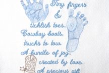 Baby & Toddler Embroidery Designs / Infant, baby, newborn and toddler embroidery designs for home machine embroidery. Prayer, poem, birth announcement, baby shower, handprint, footprint embroidery designs.