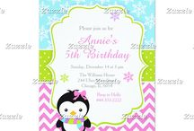 Cute Winter Penguin Girl Birthday Party / This design features a cute winter penguin in a scarf. The background consists of blue snowflakes, green polka dots and pink chevrons.