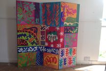 SCREEN PAINTINGS 150 x 50 x 3 / Selection of Screen paintings - the first lot are all double sided....  if I do any more, which I expect I will, they will be single sided and have something like pleated muslin on the back.