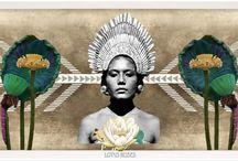 Moon Lotus Roses / Deva Nita collage art