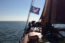 Rederij Vooruit / Kenmerkende items van Rederij Vooruit zoals ons logo en het vlaggetje waar al onze schepen aan te herkennen zijn.