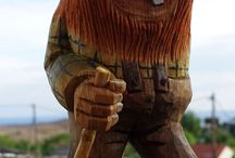 Norwegian trolls and gnomes in wood / Norwegian trolls and gnomes. Hand carved in wood. Troll, gnome, wood, carv.  Norske troll og gnom laget i tre.