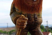 Norwegian trolls and gnomes in wood / Norwegian trolls and gnomes. Hand carved in wood. Troll, gnome, wood, carv.  Norske troll og gnom laget i tre.
