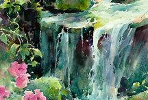 water color waterfull,flowers