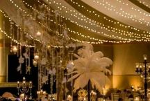 Drapes and chandeliers