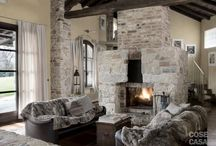 Stones and marble fireplaces / Rustic or minimal claddings entirely made of stones, highlight your fireplace or stove with a stone made wall
