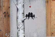 tableau peint bois