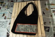 Magnolia bag / In velvet with japanese silk vintage
