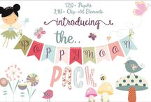 The Poppymoon Pack / Introducing our new $8 bundle, The Poppymoon Pack! Get this wonderful collection exclusively at TheHungryJPEG.com, with a mammoth 210+ individual graphics and over 120 fun and colorful papers, there is something for everyone!  Definitely the cutest bundle we've ever created, wouldn't you agree?  A complete commercial license is included, so get creating!