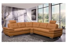 Modern Genuine-Leather Camel Sectional