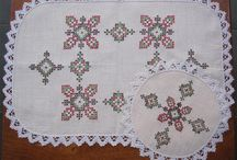 Vintage Cross Stitch Hand Embroidered DOILEY SETS