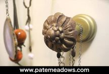 """""""Not Just For Curtains"""" Valance Hardware / Curtain hardware not just for curtains !  These knobs and posts make a great way to organize your jewelry or as towel/robe hooks in the bath!  http://www.patemeadows.com/HowToCustomizeReadyMadePanelsWithTintedLaceTrim"""