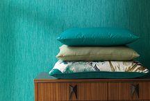 Turquoise / Living / Interior / Design / Furniture / Fabrics / Textiles / Wallpaper / Curtains
