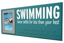 Swim medal holder - swimming ribbons display - Swimmer gifts