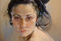 Black veil portrait / Oil