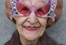 """Cosmopolitan Granny / Her name was Florence.  She wore red lipstick and a transparent blue scarf on her head.  Her body was thin and tall, maybe because she walked several miles a day, she never learned how to drive a car.  Four girls, and two boys called her """"Mama."""" She was my grandma, and I loved her. / by Jeannie Shrives"""