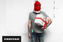 Short'o Folio – Freitag's Merry F-Mas / X-Mas emailing concept with product push, packaging creation and design as well as a donation mechanism. Reinterpretation of FREITAG's fictional character 'Freddy' into a friendly but quite scary Santa.