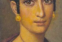 Portraits du Fayoum / Ainsi dénommés d'apres le lieu de découverte principale ,ces portraits  exécutés sur bois à l'encaustique ou à la détrempe du vivant du sujet , etaient redécoupés à la forme de la momie / by philippe magloire