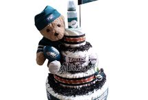 Sports Theme Diaper Cakes designed by BabyLuvsCakes