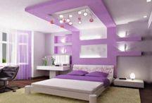 Purple bedroom for teen girls