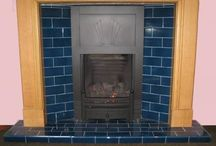Tiled hearth / Fireplace with wood burning stove ideas