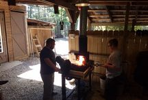 Students smithing and items made in basic blacksmithing class