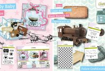 CraftEmotions - Lovely Baby / A collection matching products for cardmaking, mixed media and more. Available products (end of Sept - Oct 2016): decorated paperstack (3D) A4 size (cutting sheets and background sheets), clearstamps, mask, dies set.