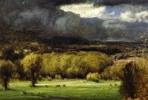 George Inness / George Inness (May 1, 1825 -August 3, 1894) was an American landscape painter; born in Newburgh, New York; died at Bridge of Allan in Scotland. His work was influenced, in turn, by that of the old masters, the Hudson River school, the Barbizon school, and, finally, by the theology of Emanuel Swedenborg, whose spiritualism found vivid expression in the work of Inness' maturity. He is best known for these mature works that helped define the Tonalist movement.