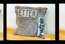 "Pillows ""Ridge & Furrow"" / Tom Johnson layers upholstery fabrics to create a chenille pillow that have a message - you can create your own - or be wordless. MANY CUSTOM possibilities!!!! Contact the Gallery. We also have his wall art under ""Fiber Sculpture"""