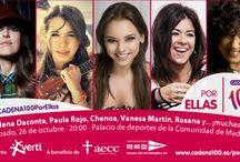 Concierto #CADENA100PorEllas / Concierto a favor de la aecc, para ayudar en la lucha contra el cáncer de mama. Te esperamos el sábado 26 de octubre a las 20:00 en el Palacio de Deportes de Madrid. Las entradas ya están a la venta en El Corte Inglés > www.cadena100.es/porellas.
