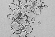 Flower drawing and tattoo