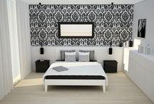 Glamour black&white / Pomysł na sypialnię w stylu glamour i biało-czarnej kolorystyce