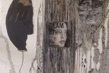 abstract acrylic mixed media on canvas 100x100