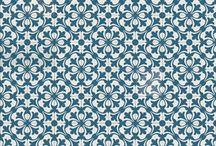 """Papel de Scrapbooking   Scrapbooking Paper / Diseño propio - Basado en la técnica del """"trencadís"""" y en las baldosas hidráulicas típicas del Modernismo de finales del S.XIX y principios del S.XX por Antoni Gaudí."""