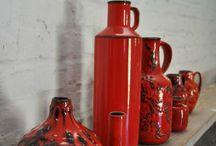 VASES ROUGE à vendre / vases vintage rouge céramique 60-70
