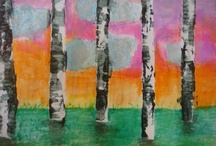 The Birch wood forest / Children from the age of 3 to 8 are able to do thhis using oil pastels, tempera paint or liquid water colors, masking tape and a hair dryer