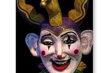 clowns, jesters, fairground