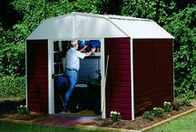 Arrow Red Barn Steel Storage Shed Series / The Red Barn comes in two sizes 10' x 8' and 10' 14'.  Bring the old time feel of a red barn into your back yard with these Red Barn Backyard Sheds