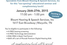 Upcoming Events / Upcoming events concerning hearing loss education and speech services.