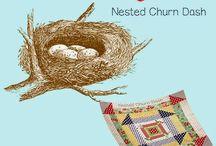 Nested churn dash quilt along