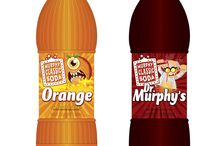 """Soft drink packaging / Several of the first-round label concepts designed by Murray Brand Communications for Murphy Classic Soda.  This was a """"facelift"""" as the client asked Murray Brand to clean up its existing labeling so it was easier to read."""