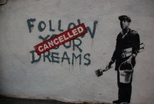 """ART @ GALLERY OUTSIDE / """"Nothing in the world is more common than unsuccessful people with talent, leave the house before you find something worth staying in for. """" – Banksy / by Joanne Amantea"""
