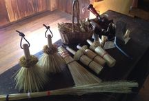 Brooms / Collections made from the Broom Shop on our grounds. Hand made from broom corn, which originated from Central Africa and brought here to the U.S. by Benjamin Franklin in the late 1700's. Shaker broom, New England style broom, cob web broom, pot scrubbers, cake testers, veggie scrubbers and fly swatters.