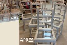 Chaises de style Henri II revisitées / 6 chaises en hêtre restaurées et remises au goût du jour. Elles sont à vendre, contactez-moi.