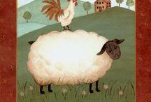 primitive sheep paintings