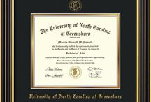 UNCG - Uninersity of North Carolina Greensboro Diploma Frames & Graduation Gifts / Official UNCG Diploma frames. Exquisitely crafted to exacting specifications for the UNCG diploma. Custom framed using hardwood mouldings and all archival materials, including UV glass to prevent fading from sunlight AND indoor incandescent lighting! Each frame exceeds Library of Congress standards for document preservation and includes a 100% lifetime guarantee, ensuring that a hard-earned achievement will be honored and protected for generations. Makes a thoughtful and unique graduation gift!