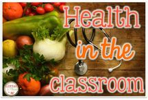 Health / Board with health resources for the elementary classroom.
