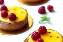 Passion fruit and rasberry tart